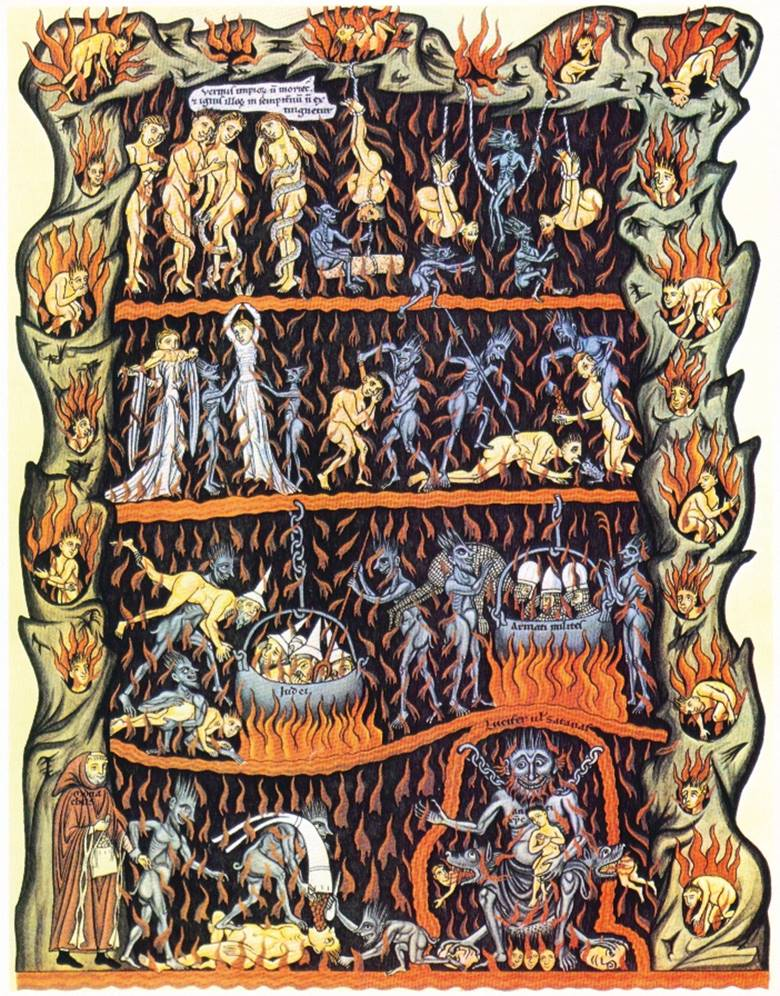 A medieval representation of Hell showing demons torturing human beings in many grotesque ways.